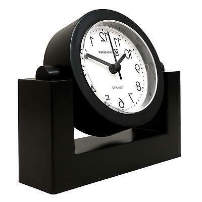 Desktop Swivel Clock Desk Tabletop, Black Frame Face