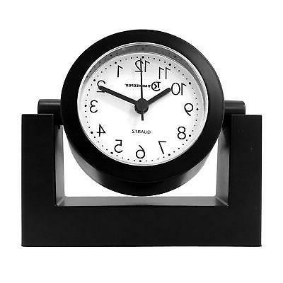 Desktop Clock Desk Shelf Black Frame Face