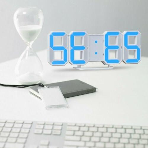 Digital 3D Clock Alarm Clock Snooze Hour Display USB Decor