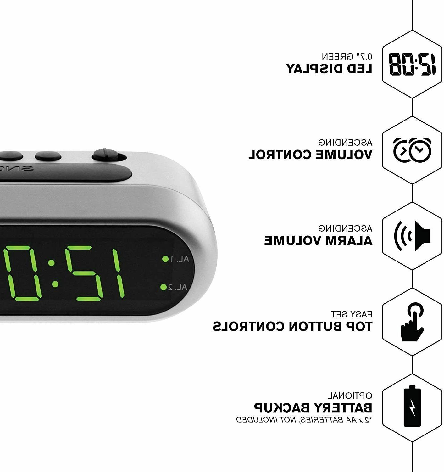 Sharp Electric Alarm Battery LED Large Display Snooze