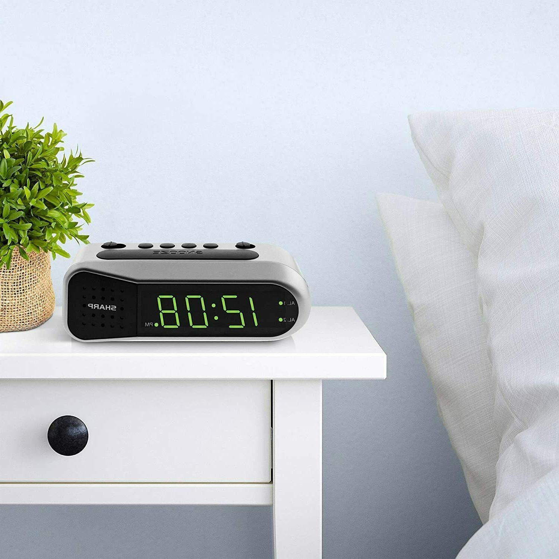 Sharp Electric Digital Dual Alarm Battery Backup LED Large