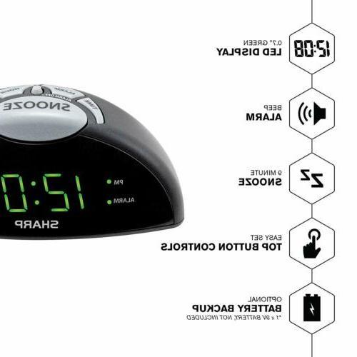 Sharp Digital Alarm Clock Easy Green LED Simple