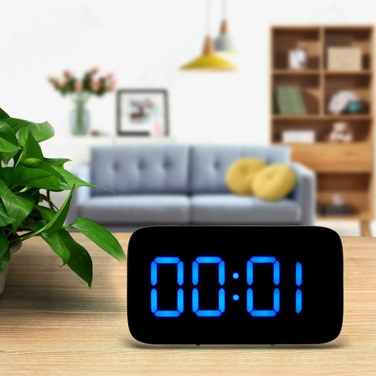 Digital Alarm Clock Large LED USB/Battery Sound Control Bedroom