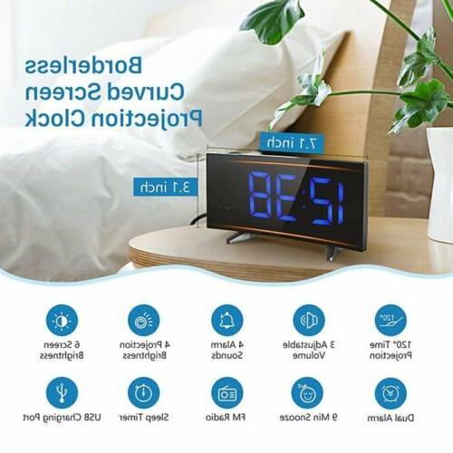 Digital Alarm Clock Projection Bedroom Dual Alarms SNOOZE Port