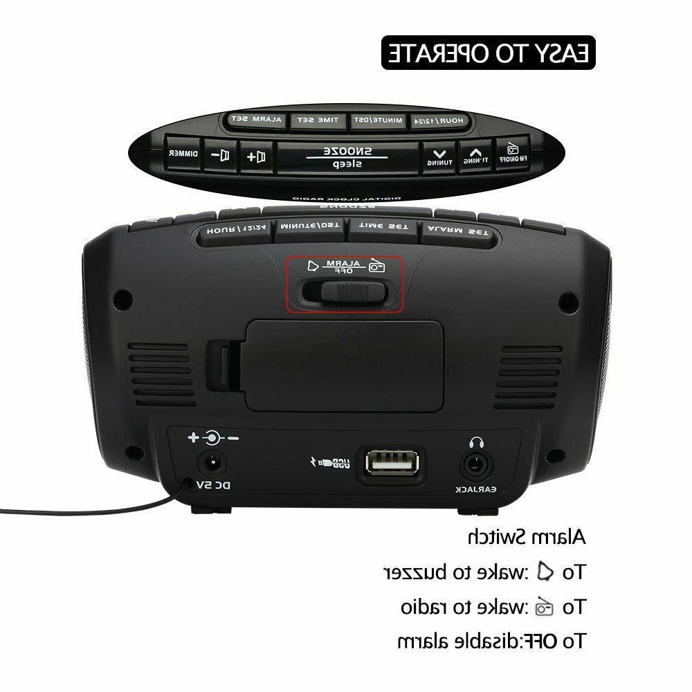 Dream Sky Digital Alarm Clock Radio, Dual USB Ports for Charging,