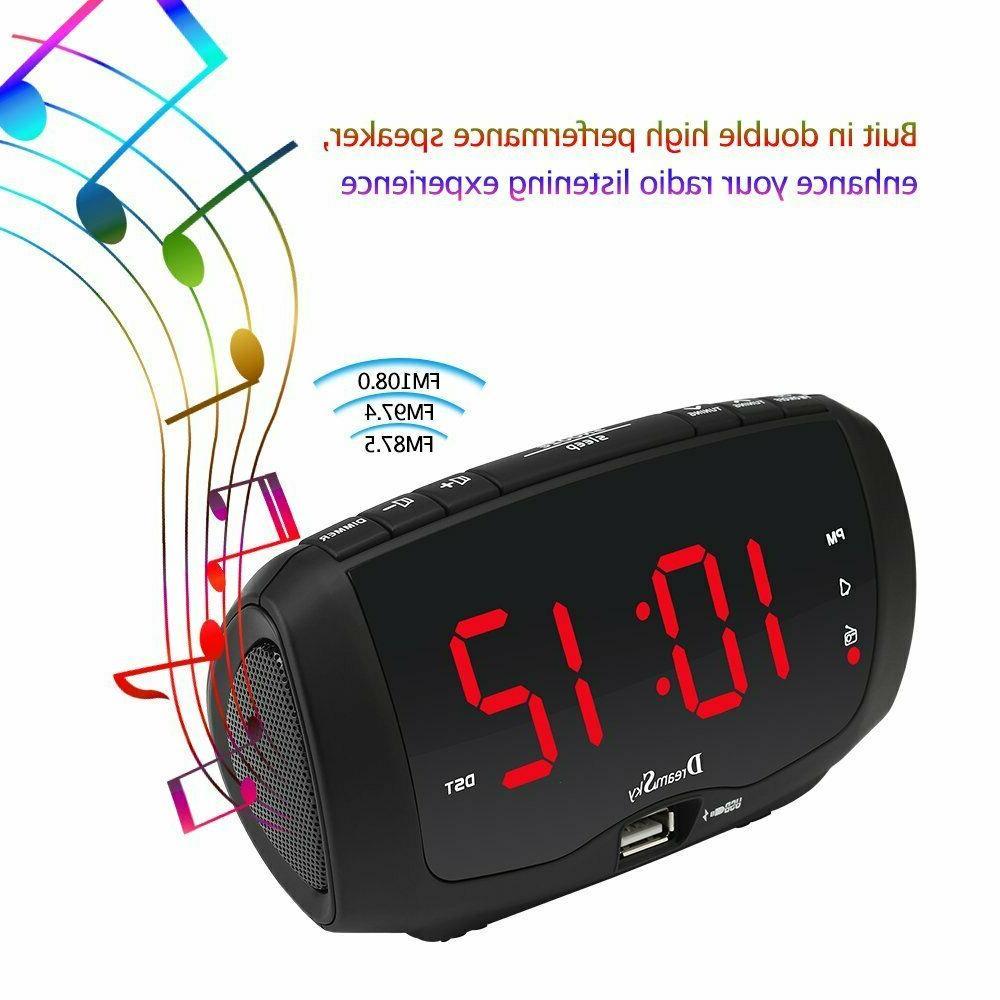 Dream Sky Digital Clock Radio with Radio, for Charging,