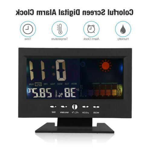 Digital Alarm Calendar LED Display Thermometer Hygrometer