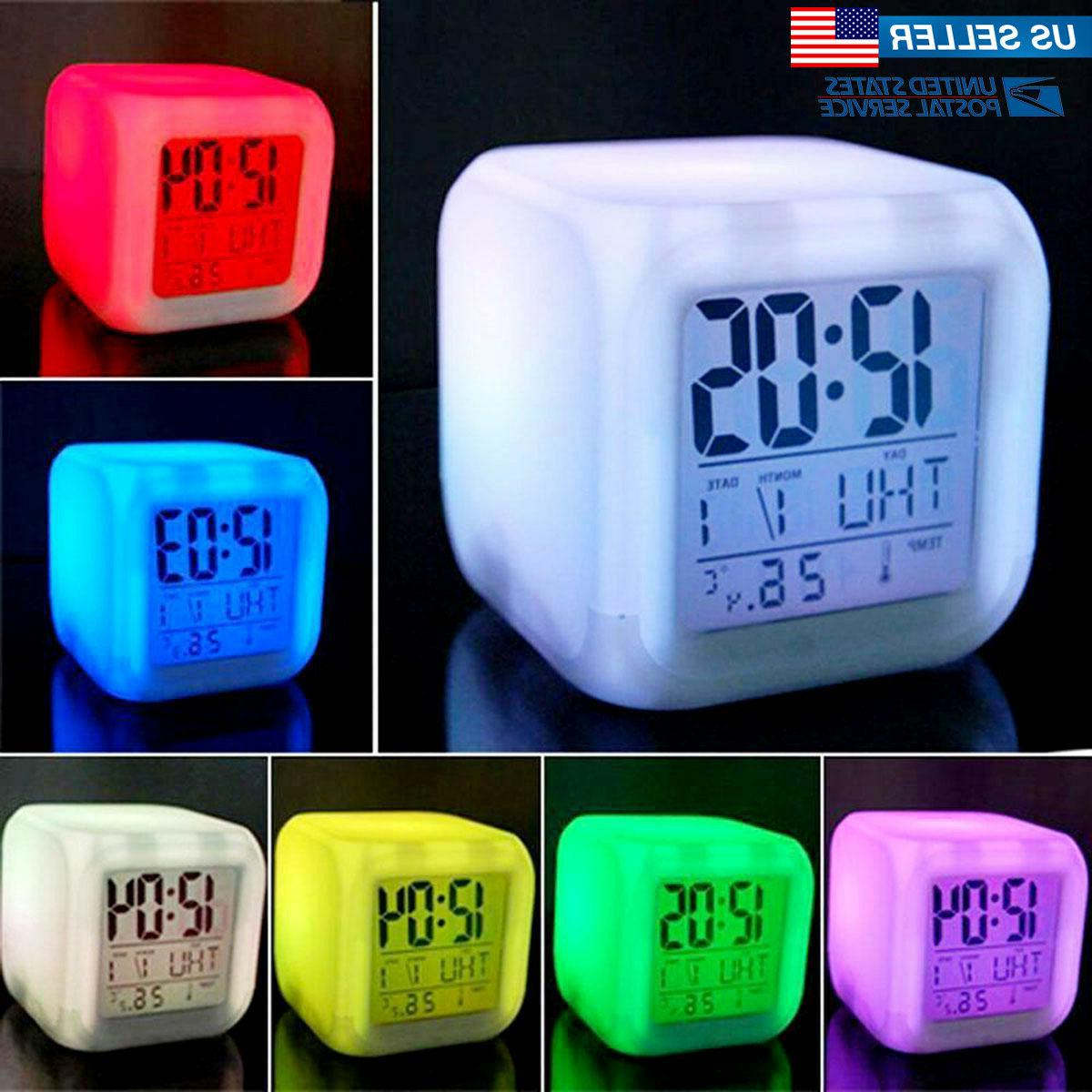 digital alarm thermometer night glowing cube 7