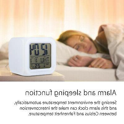 7 Glowing Alarm Clock Clock Thermometer Cube Time