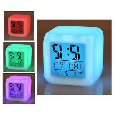 7 Alarm Digital Clock Thermometer Cube Clock Time