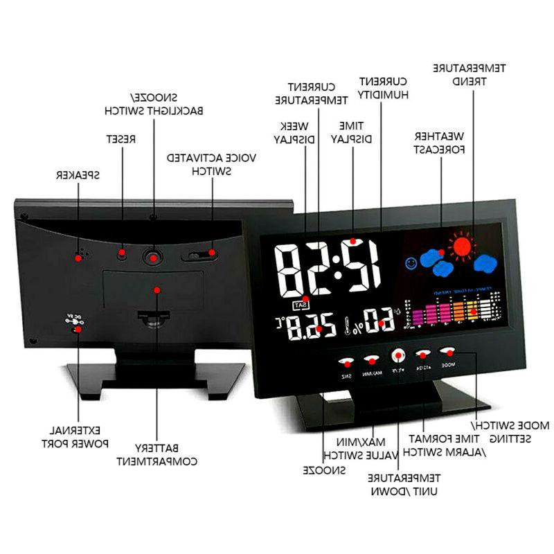 LED Alarm Clock Calendar Weather Thermometer Color Display