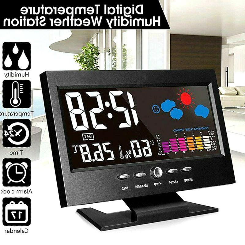 led digital alarm clock calendar weather thermometer