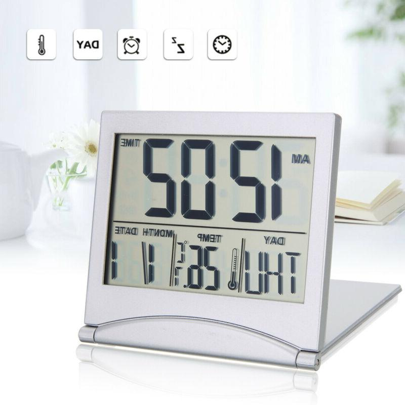 digital lcd travel folding desk alarm clock