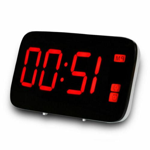 Digital Alarm Clock Large Snooze Powered