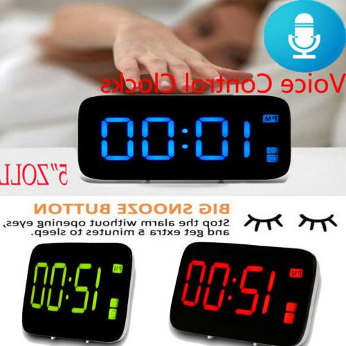 digital led alarm clock large screen snooze