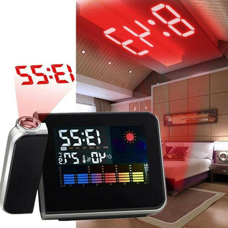 LED Digital Projection Alarm Clock Weather Thermometer Calen