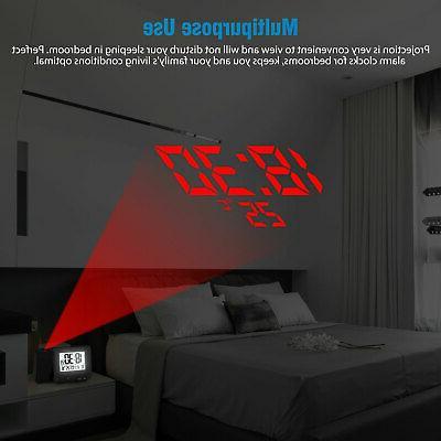 Digital Projector Alarm Weather Calendar FM Radio LED Snooze