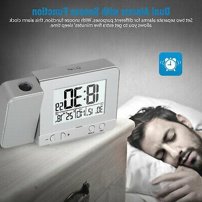 Digital Alarm Clock Weather Calendar LED Snooze USB