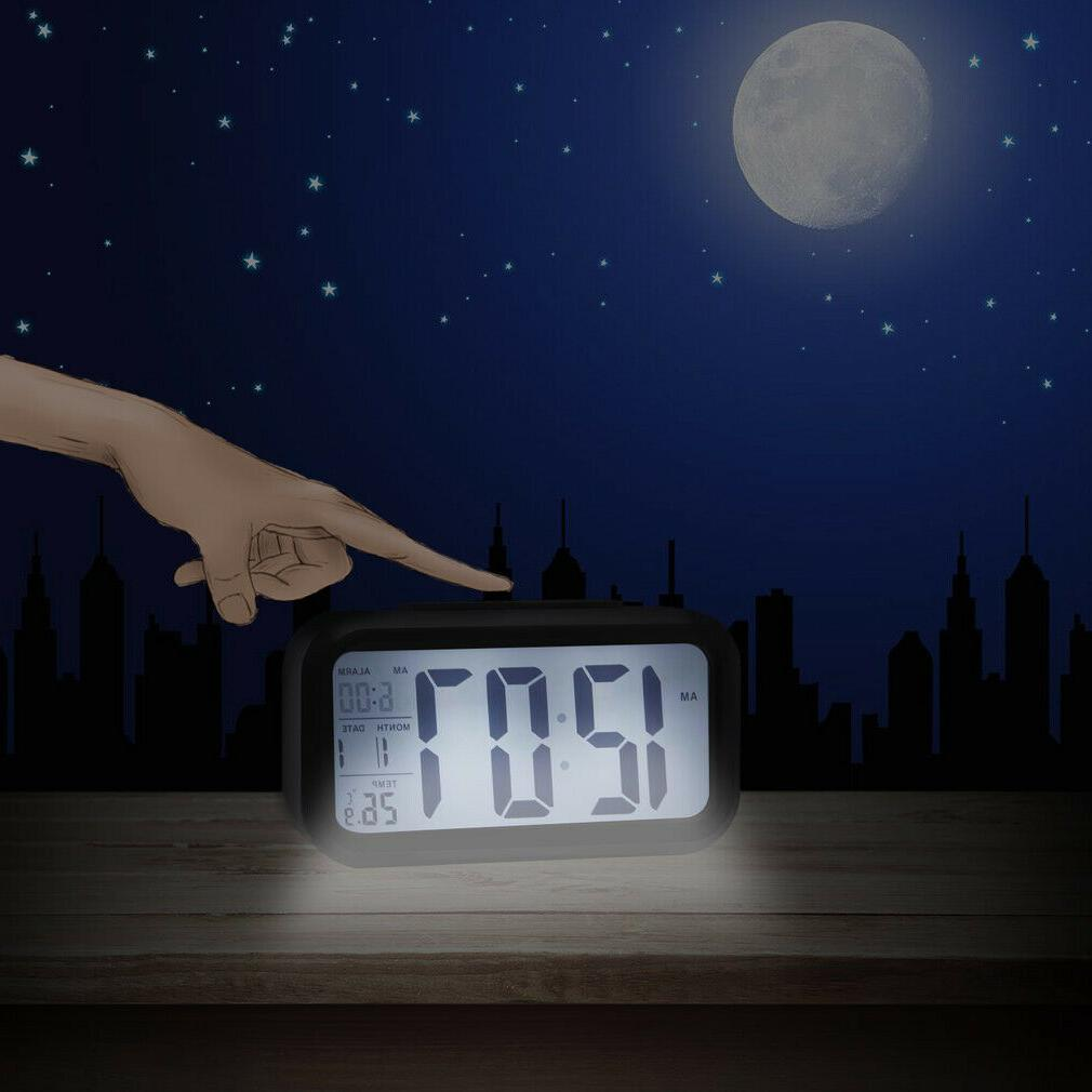 Digital LED Alarm Clock Snooze Back Calendar Thermometer Temperature