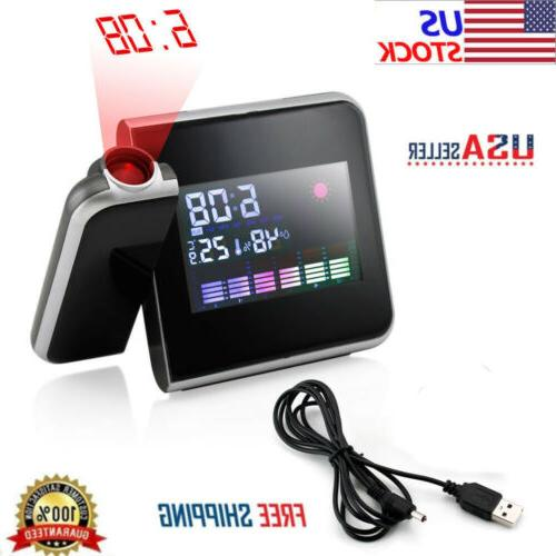 New Projection Digital Weather LCD Snooze Alarm Clock Color