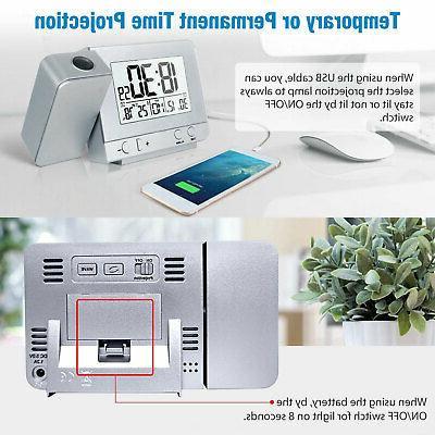 Digital Projector Clock Weather FM Radio LED Snooze