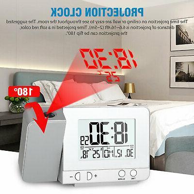 Digital Projector Clock Weather Calendar FM LED USB