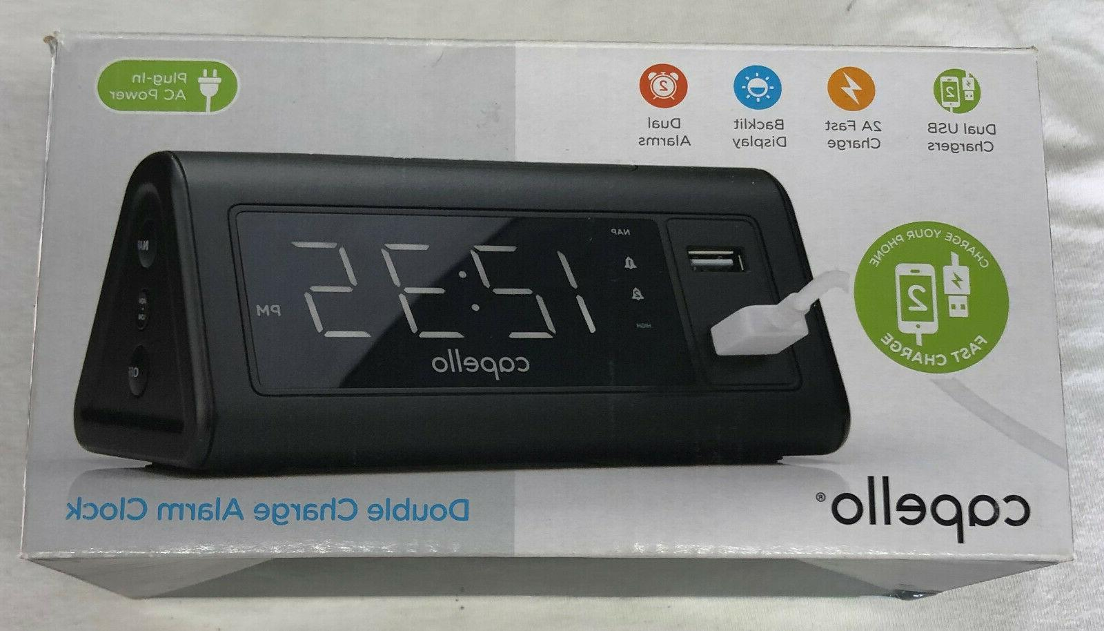 double charge wired alarm clock with dual