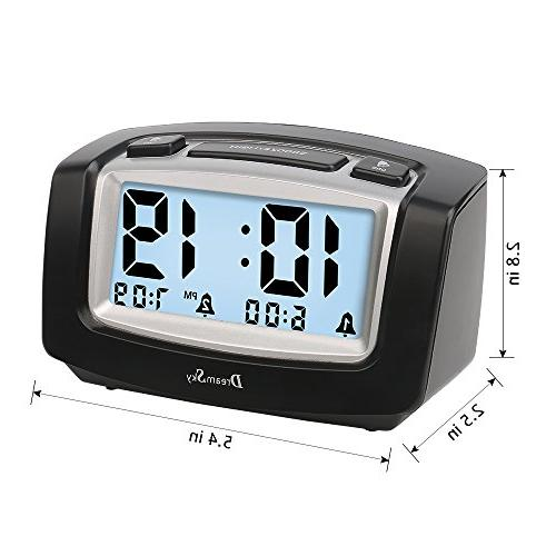DreamSky Alarm with Adjustable Snooze, Large LCD Alarms Clock