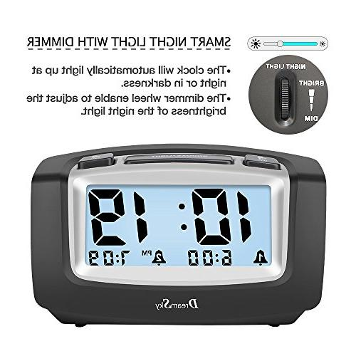 DreamSky Dual with Snooze, Large Portable Battery Ascending Alarms Sound, Operate Clock