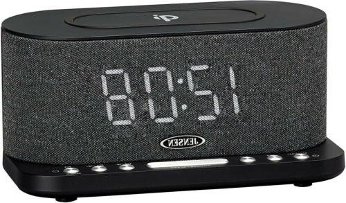 dual alarm clock radio with wireless charging