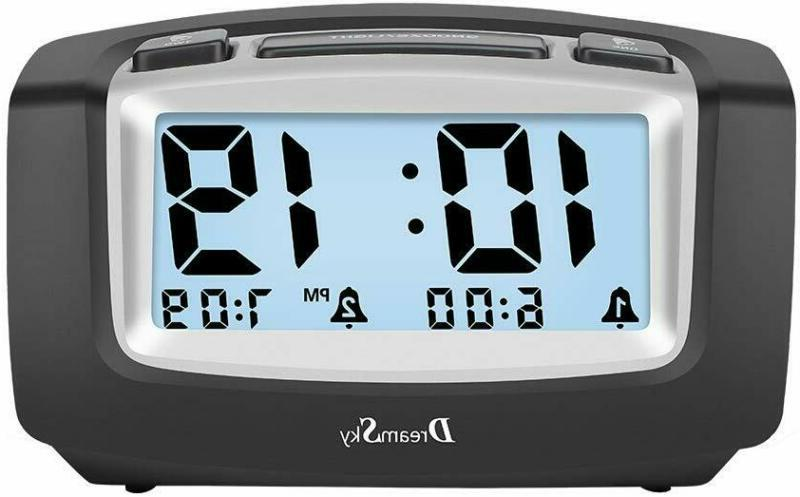 DreamSky Dual Alarm Clock with Smart Adjustable Nightlight,