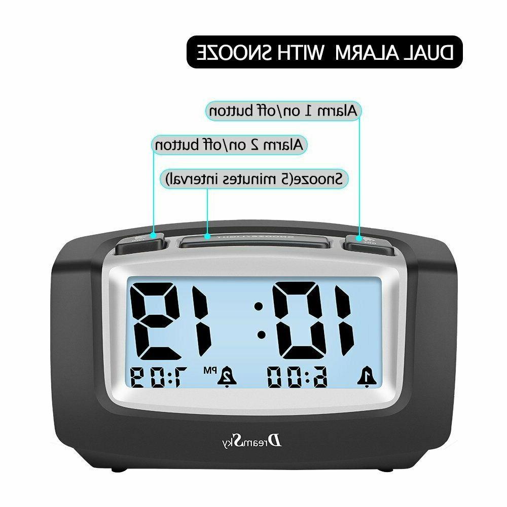DreamSky Alarm with Smart Nightlight, Large LCD