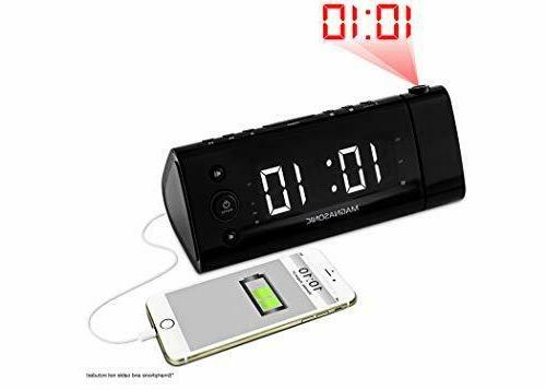 Electrohome USB Alarm Radio Time Auto Time Alarm, White Display for Smartphones & Tablets