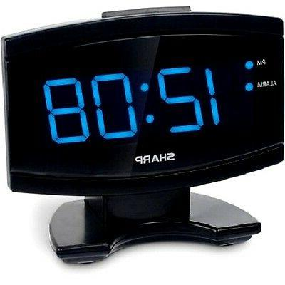 Digital Electric Alarm Clock Blue LED Large Display, Sharp,