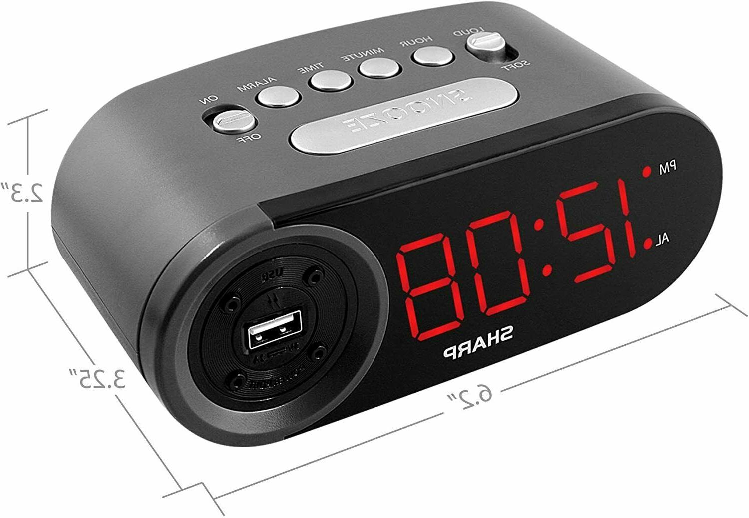 Sharp Clock w/ 2 High-Speed Charging LED Display
