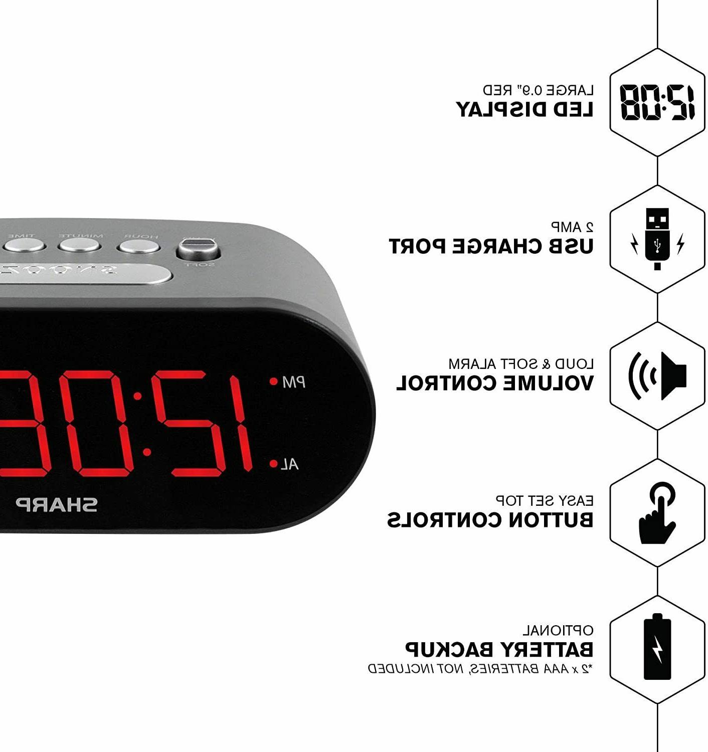 Sharp Electric Clock w/ 2 AMP High-Speed LED Display