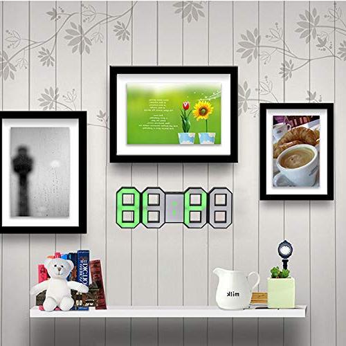 Perfeo LED Wall Clock, 3D Digital Table 24/12 Hour Display, Clock, Brightness Automatically