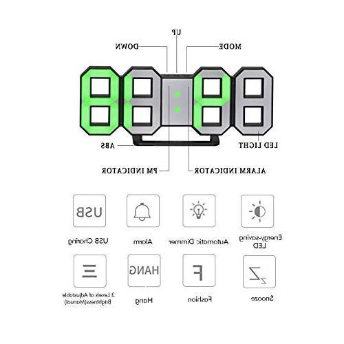 Perfeo Wall Clock, Digital Table Hour Clock, Brightness