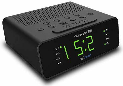 Emerson SmartSet Alarm Clock Radio with AM/FM Radio, Dimmer,