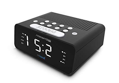 "Emerson Clock Radio AM/FM Dimmer, Sleep .9"" White LED Display, ER100101"