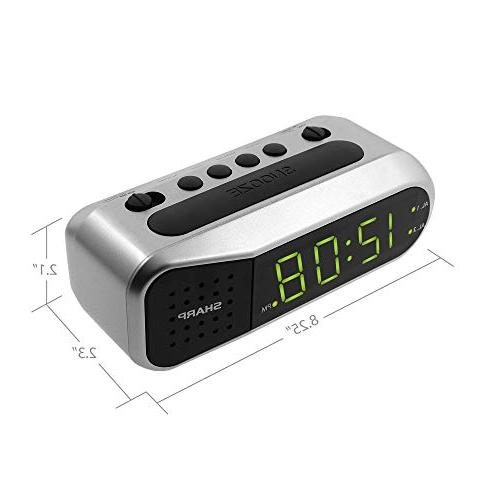 Sharp Digital Alarm Clock with Alarm, Gentle Experience, Battery Back-up