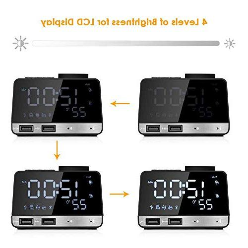 Hetyre Clock Radio, with Snooze USB Port, TF Play, Thermometer, Large Mirror Dimmable Display Hotel, Table,