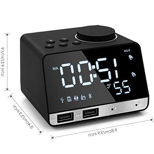 Hetyre 4.2 Alarm Clock with USB TF Card Large Mirror Dimmable Display for Hotel,