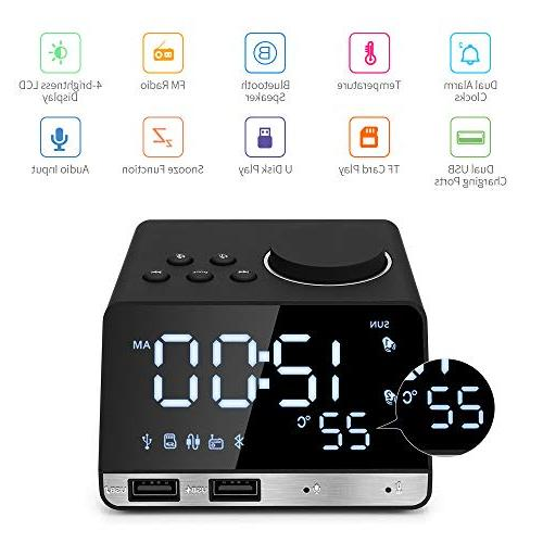 Hetyre 4.2 Clock with Dual USB Charging Port, TF Thermometer, Large Mirror Display Bedroom, Kitchen, Hotel, Table, Desk