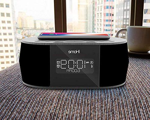 iHome iBTW38 Alarm Clock Bluetooth Stereo iPhone Qi Wireless Charging Dock Station Xs, XS XR, X, iPhone Plus USB Port to Any Device