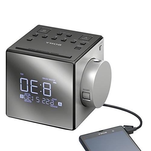 New Improved - Sony Projector Clock Extendable Snooze, 5 Nature Radio, Calendar, Large LED Port + Sony Rplc.