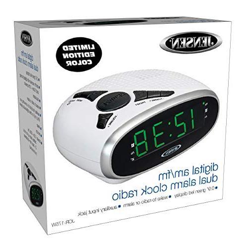 Jensen Digital AM/FM Clock Radio Backup, Dual Alarm,Sleep Snooze LED Display - White
