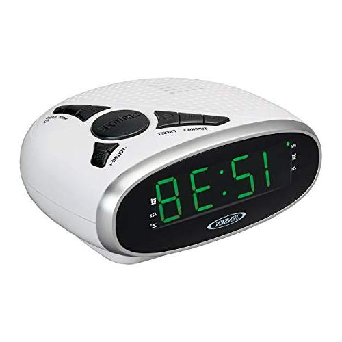 Clock with Backup, Snooze Functions, LED - White