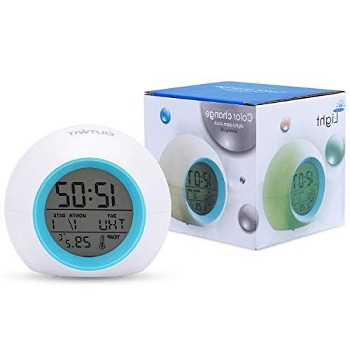 OUTWIT Clock【Updated Version】, Up Clock for Kids, 7 Colors Changing Bedroom, Indoor Calendar,