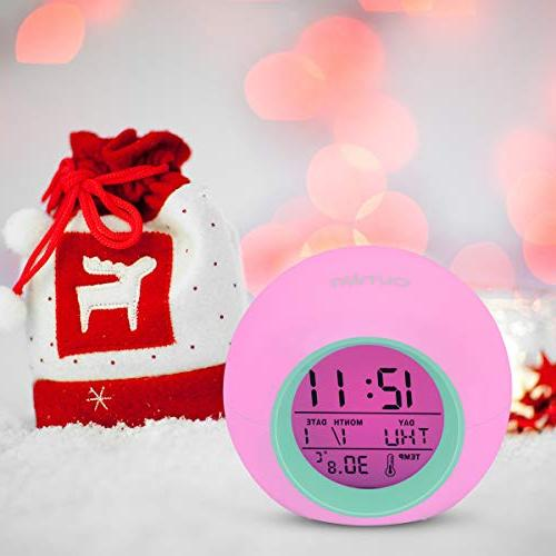 OUTWIT Version】, Clock for Colors Bedside Clock for Bedroom, with Calendar, Touch Control and Snoozing